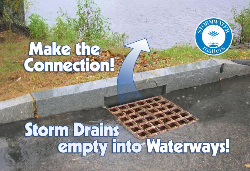Storm Drains empty into Waterways